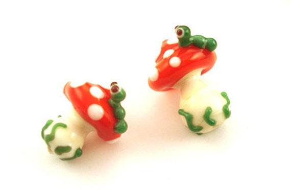 Toadstool glass lampwork bead