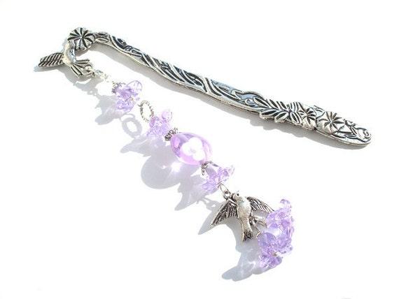 Bookmark lavander flower and bird glass lampwork beads