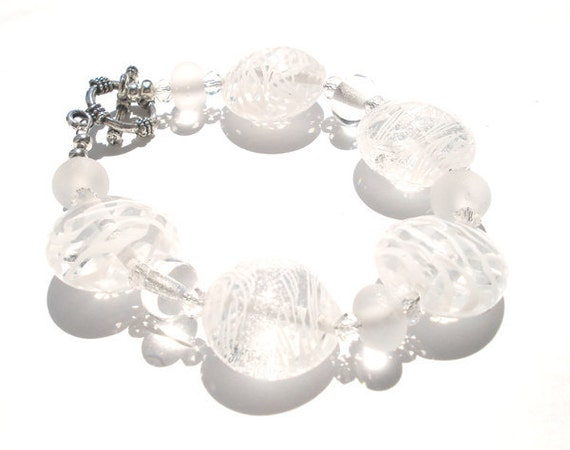 Transparent clear lampwork bracelet