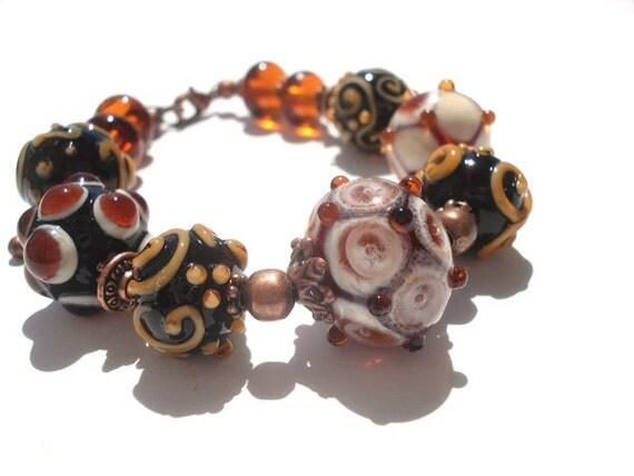 Topaz  lampwork bracelet with extender chain