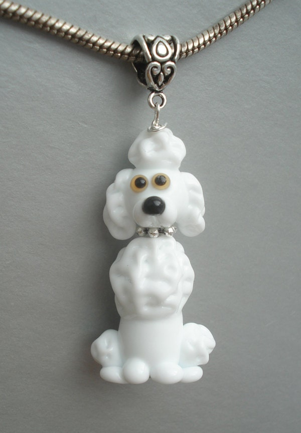 poodle necklace glass charm pendant jewelry with silver chain