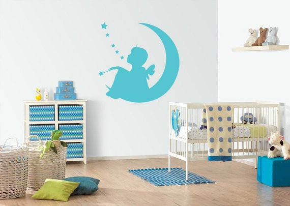 fairy on the moon boy  nursery wall  decal, wall decoration, wall vinyl decal, removable wall decal