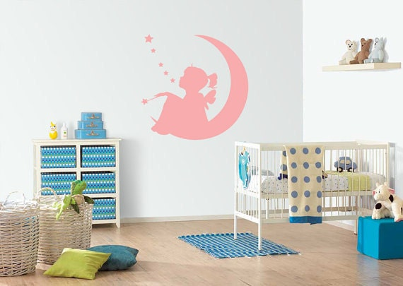 Fairy  on the  moon  removable wall vinyl decal  wall decoration nursery kids wall decorationdecals sticker children