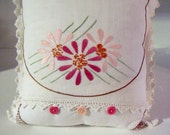 Handmade Pillow Upcycled from Vintage Embroidery and Linens  Treasury Item