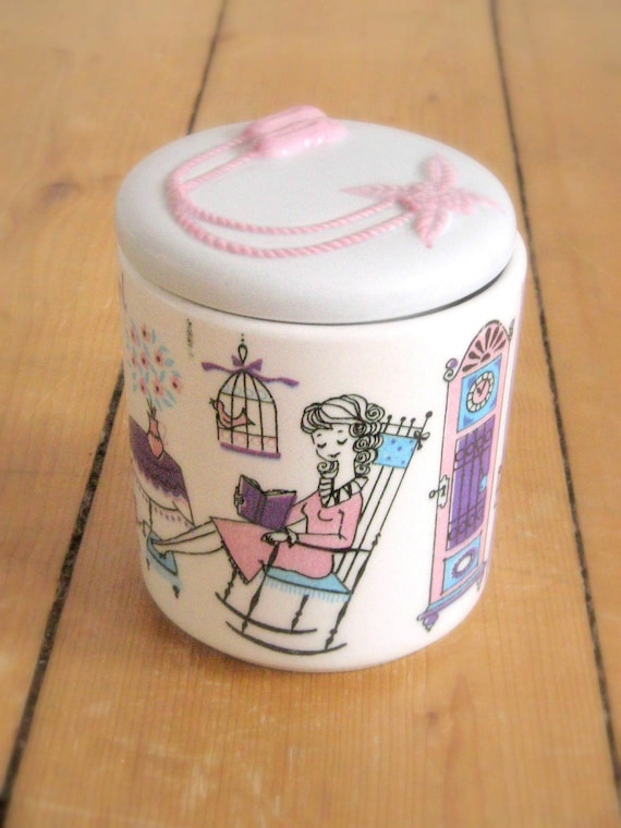 SALE Cutest Vintage 50s Ceramic Food Container Canister Cookie Jar for Sweets From Germany