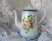 French Antique Rose Flowers Enamel Coffee Pot