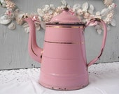 Fabulous Vintage French Antique Enamel Pink Coffeepot