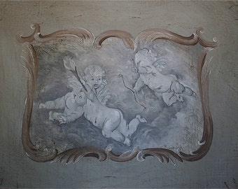 Unique original oil painting distressed three cherubs in the clouds
