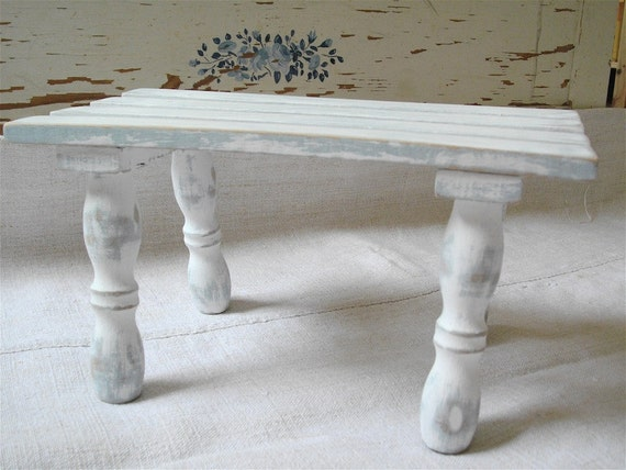 Vintage Bench White Shabby  Chic French distressed slates of wood Bench
