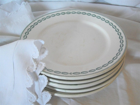 French Antique Six plates SARREGUEMINES style empire