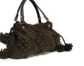 Women's Knit tote bag,Handmade Brown  Knit Bag, Celebrity Style,Crochet winter  bag-Nr:201-Gifts for mom,teacher gift