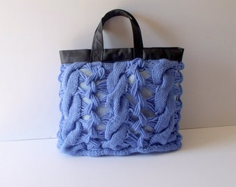 Tote bag  Blue-Knit Handbag,knitted in cotton with Leather handles,weekender bags Free Shipping Valentines day gift Mothers day-moms gift-
