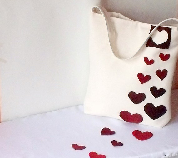 Fashion week, fashion ,etsy xo ,for woman,Gifts for mom-Red fabric bag hearts.summer,eco fashion