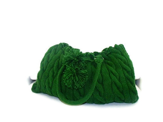 Etsy Holiday Sale-Valentines Day-Handmade-Green Knit Hand Bag- Shoulder Bag-Everyday bag