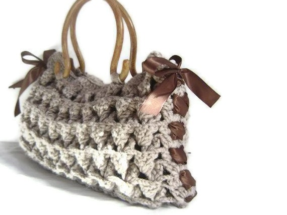 Crocheted brown bag,Gifts for mom-mom, Crocheted purse ,brown  bag-fashion for mom-Nr.207