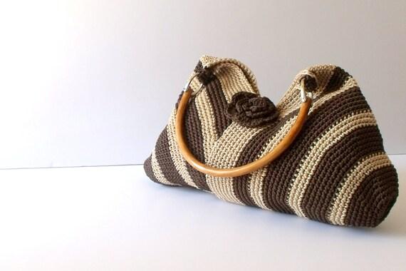 Crochet brown shoulder bag-Everyday Bag-Shoulder Bag, moms gift, satchel purse,Hobo bag-eco mothers day