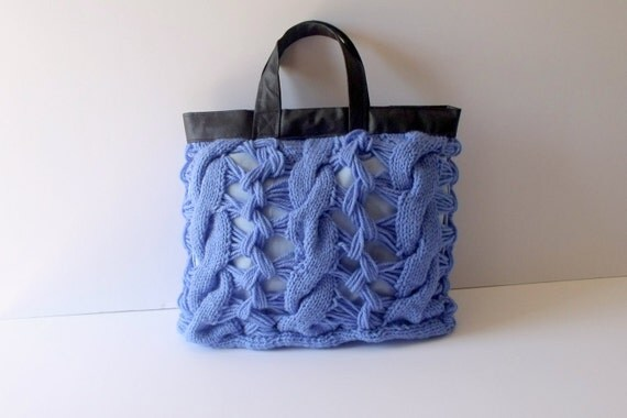 Mothers day-moms gift-Tote bag  Blue-Knit Handbag,knitted in cotton with Leather handles,weekender bags
