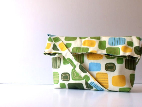 Back to school-Fabric Messenger Bag,summer bag,Shoulder Bag -  Travel bag-Yellow Flowers on Burnt  Cotton, Medium Size