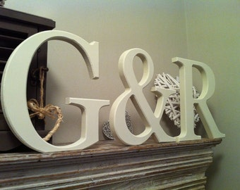 Set of 3 - Handpainted Wooden Freestanding Wedding Letters, Photo Props - 20cm - various colours & finishes