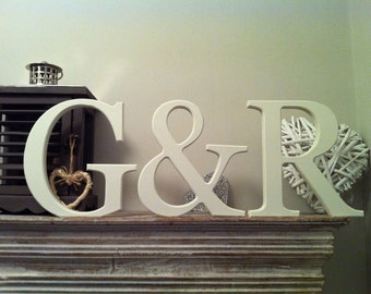 Set of 3 - Handpainted Wooden Freestanding Wedding Letters, Photo Props - 25cm - various colours and finishes