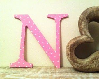 Decorative Wooden Wall Letter 'N' - Any Colour - Spotty or Plain - Various Sizes