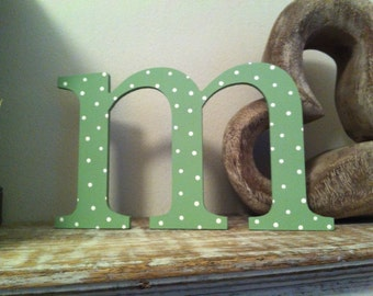 Handpainted Wooden Wall Letter - Spotty - 'm' - wedding - lowercase