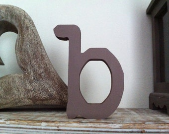 Handpainted Freestanding Wooden Letters - b - lowercase - various colours and finishes