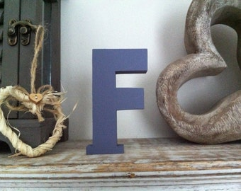 Freestanding Wooden Letter 'F' - Plain Finish - 15cm - Ariel Style Font - various colours and finishes