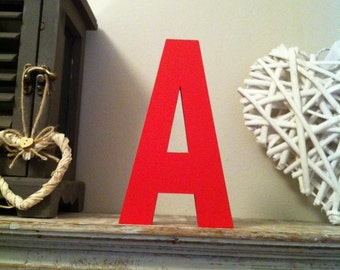 Freestanding Wooden Letter 'A' - Plain Finish - 15cm - Ariel Style Font - various colours and finishes