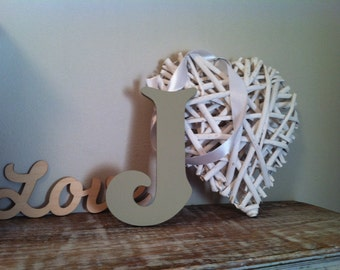"Decorative Wooden Wall Letter 'J' - Any Colour - Plain Finish - Victorian Style - 12"" - various colours and finishes"