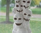 HALF-OFF SALE  handmade modern - vintage skull tower