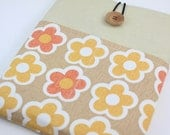 iPad Case, iPad Sleeve, iPad Cover, PADDED, with pockets for iPhone - Flower Flower