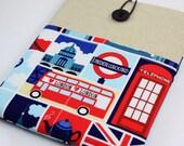 iPad Case, iPad Sleeve, iPad Cover, PADDED, with pockets for iPhone - i Love London