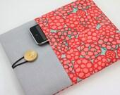 iPad Case, iPad Sleeve, iPad Cover, PADDED, with pockets for iPhone - Pomegranate