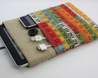 Limited Edition - iPad Case, iPad Sleeve, iPad Cover, PADDED, with pockets for iPhone - Retro Colorful Measuring Tape