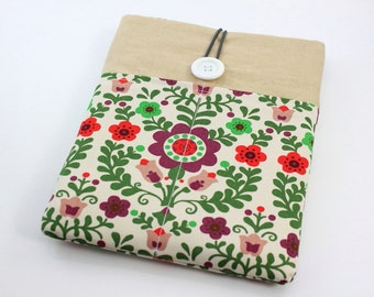 iPad Case, iPad Sleeve, iPad Cover, PADDED, with pockets for iPhone - Blossom (Red & Green)