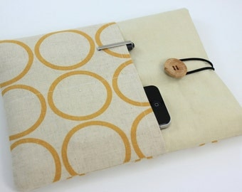 iPad Case, iPad Sleeve, iPad Cover, PADDED, with pockets for iPhone - Yellow Circles
