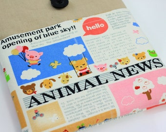 MacBook Air 11 & 12 inch Case Laptop Sleeve Cover Padded , with front pockets - Animal Newspaper