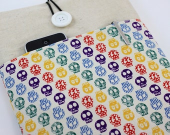 MacBook Air 11 & 12 inch Case Laptop Sleeve Cover Padded , with pockets for iPhone - Colorful Skulls