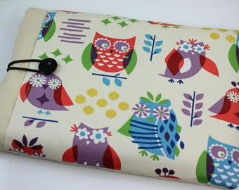 """Laptop Case, 13"""" MacBook Case, 13"""" MacBook Air Case, 13"""" MacBook Pro Case, PADDED,with 1 large front pocket - Colorful Owls"""