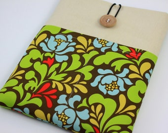 iPad Case, iPad Sleeve, iPad Cover, PADDED, with pockets for iPhone - Blossoms (Green & Brown)
