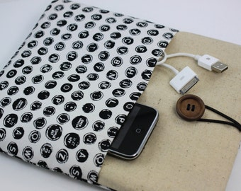 iPad Case, iPad Sleeve, iPad Cover, PADDED, with pockets for iPhone - Keyboard (Black & White)