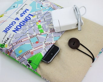 """Laptop Case, 13"""" MacBook Case, 13"""" MacBook Air Case, 13"""" MacBook Pro Case, PADDED, with 2 pockets - London Map"""