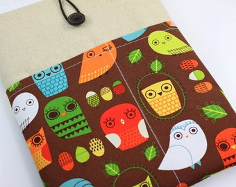 """Laptop Case, 13"""" MacBook Case, 13"""" MacBook Air Case, 13"""" MacBook Pro Case, PADDED, with 2 pockets - Colorful Owls & Leaves"""