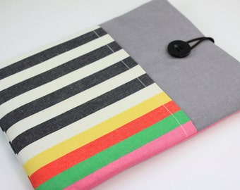 iPad Case, iPad Sleeve, iPad Cover, PADDED, with pockets for iPhone - Rainbow with Grey & White Stripes