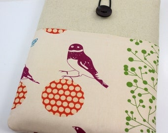"Laptop Case, 13"" MacBook Case, 13"" MacBook Air Case, 13"" MacBook Pro Case, PADDED, with 2 pockets - Echino Bird"