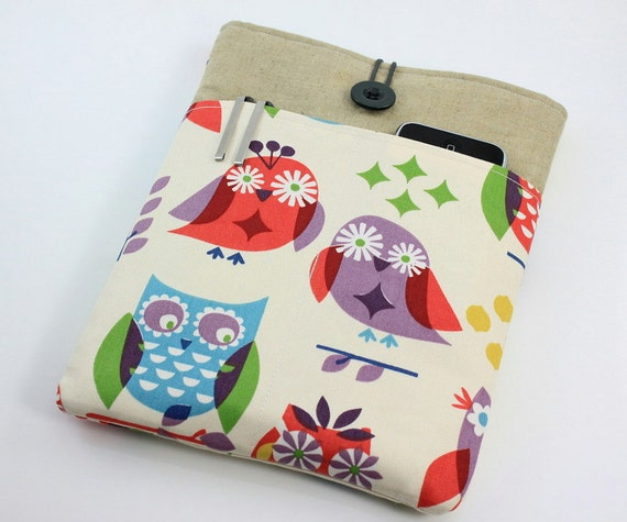 iPad Case, iPad Sleeve, iPad Cover, PADDED, with pockets for iPhone - Colorful Owls
