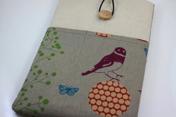 MacBook Air 11 inch Case Laptop Sleeve Cover Padded , with pockets for iPhone - Echino Bird