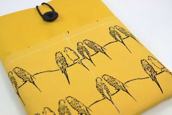 iPad Case, iPad Sleeve, iPad Cover, PADDED, with pockets for iPhone - Singing Parakeets