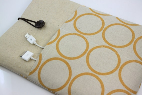 "Laptop Case, 13"" MacBook Case, 13"" MacBook Air Case, 13"" MacBook Pro Case, PADDED, with 2 pockets - Yellow Circles"